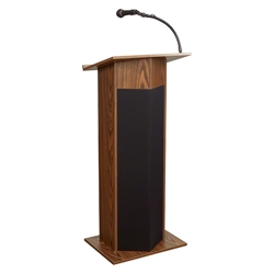 Oklahoma Sound 111PLS Power Plus Sound Lectern, Medium Oak lectern, wired podium, wired lectern, podium with microphone, rechargeable battery, teaching lectern, speech lectern