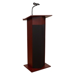 Oklahoma Sound 111PLS Power Plus Sound Lectern, Mahogany lectern, wired podium, wired lectern, podium with microphone, rechargeable battery, teaching lectern, speech lectern
