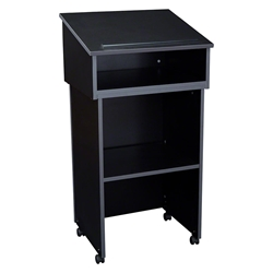 Oklahoma Sound 22/112 Tabletop Lectern and Base, Black oklahoma sound, tabletop lectern, floor lectern, av cart, rolling lectern, combo lectern