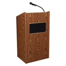 Oklahoma Sound 6010 Aristocrat Sound Lectern, Medium Oak lectern, wired podium, wired lectern, podium with microphone, podium speakers