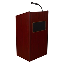 Oklahoma Sound 6010 Aristocrat Sound Lectern, Mahogany  lectern, wired podium, wired lectern, podium with microphone, podium speakers