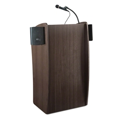Oklahoma Sound 611S Vision Lectern with Sound, Ribbonwood lectern, wired podium, wired lectern, podium with microphone, podium with screen, podium speakers