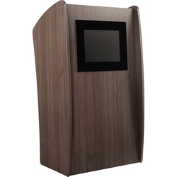 Oklahoma Sound 612 Vision Lectern with Screen, Ribbonwood lectern, wired podium, wired lectern, podium with screen, lcd screen