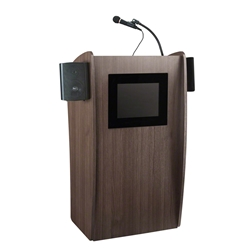 Oklahoma Sound 612S-RW Vision Lectern with Sound and Screen, Ribbonwood lectern, wired podium, wired lectern, podium with microphone, podium with screen, podium speakers, lcd screen, digital displau lectern