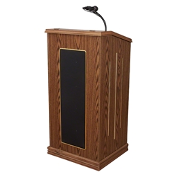 Oklahoma Sound 711-MO Prestige Sound Lectern, Medium Oak lectern, wired podium, wired lectern, podium with microphone, rechargeable battery, teaching lectern, speech lectern