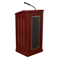 Oklahoma Sound 711-MY Prestige Sound Lectern, Mahogany  lectern, wired podium, wired lectern, podium with microphone, rechargeable battery, teaching lectern, speech lectern