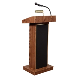 Oklahoma Sound 800X Orator Sound Lectern, Medium Oak lectern, wired podium, wired lectern, podium with microphone, rechargeable battery, teaching lectern, speech lectern