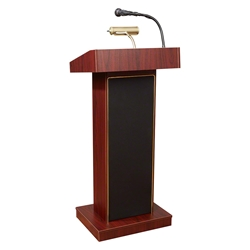 Oklahoma Sound 800X Orator Sound Lectern, Mahogany lectern, wired podium, wired lectern, podium with microphone, rechargeable battery, teaching lectern, speech lectern