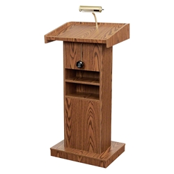 Oklahoma Sound 810 Orator Lectern, Medium Oak height adjustable lectern, teaching lectern, seminar lectern, lighted lectern