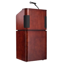 Oklahoma Sound 950/901 Tabletop and Base Combo Sound Lectern, Mahogany/Walnut teaching lecterns, training lecterns, lecterns, sound lecterns, school furniture, college furniture, university furniture, church