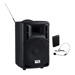 Oklahoma Sound 40-Watt PA System w/Wireless Headset Mic pa system, wireless pa system, wireless microphone, wireless headset microphone, PA microphone, PRA-8000