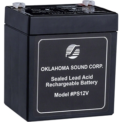 Oklahoma Sound PS12V Power Sonic 12-Volt 5-Amp Rechargeable Battery wired microphone, standard mics, wired lapel microphone, lectern microphone, unidirectional microphone, tie clip microphone, rechargeable battery, lectern battery, power amp battery, 12 volt battery