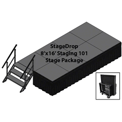 TotalPackage™ Dual-Height Portable Stage Kit, 8x16 folding stage, 8x16, 8 x 16, 128, stagekart, stage cart, amsk8x16, amsk8x24, sp4ft1624, sp4ft2432, total package