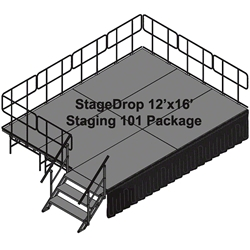 TotalPackage™ Dual-Height Portable Stage Kit, 12x16 12x16, 16x12, staging, stairs, steps, skirting, skirts, dual height, adjustable height