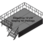 TotalPackage™ Dual-Height Portable Stage Kit, 12'x16' 12x16, 16x12, staging, stairs, steps, skirting, skirts, dual height, adjustable height