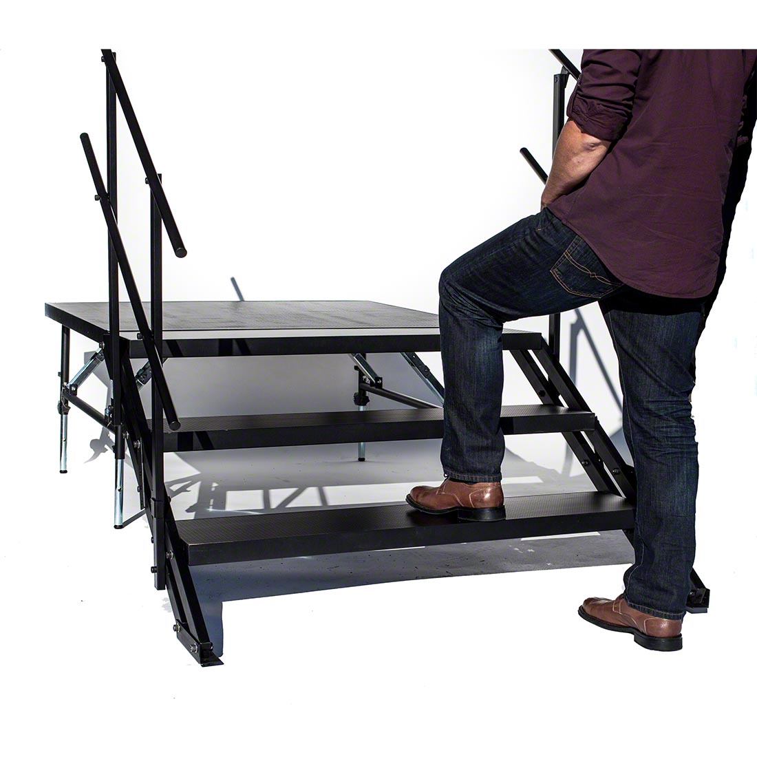 Portable Stage Steps With Handrails : Staging wide stairs w guard rails for quot high